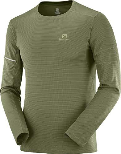 SALOMON Agile LS tee M Camiseta Deportiva de Manga Larga, Verde (Olive Night), Talla S para Hombre