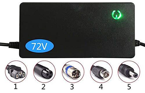 ZJWD Cargador, Adaptador De Corriente De 72V (2A / 3A / 5A /), Cargador De Scooter Eléctrico, Protección contra Sobrevoltaje, Apagado Automático, Enchufe Personalizable,2a,3