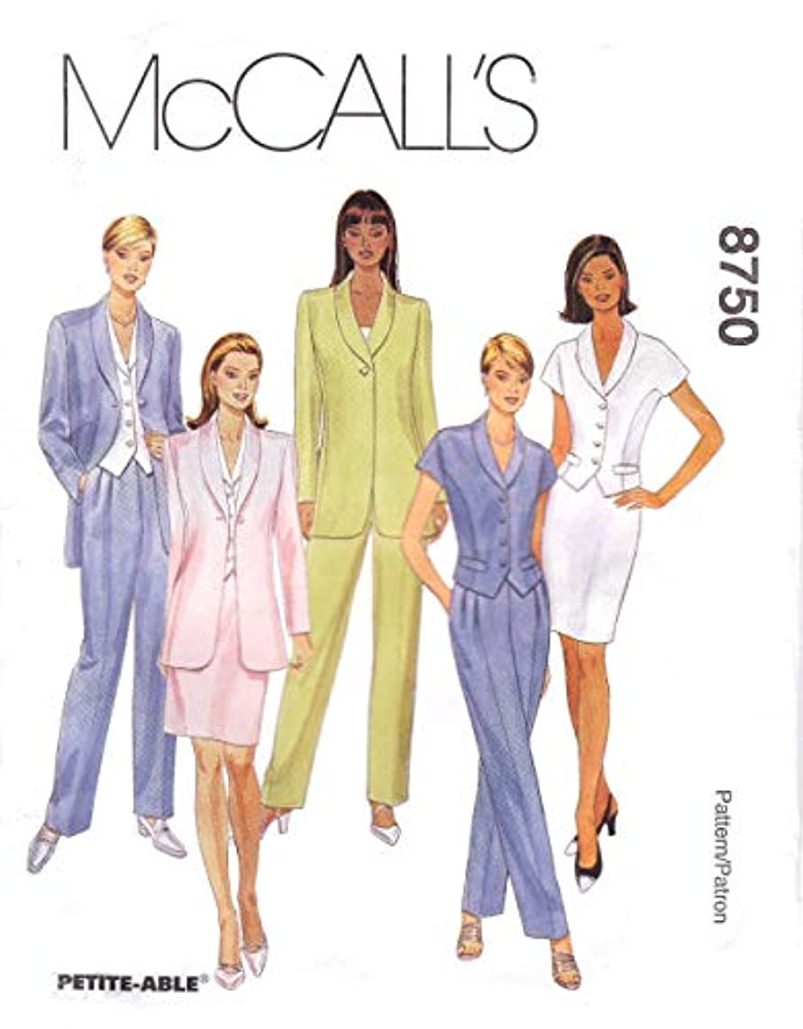 McCall's Sewing Pattern 8750 Misses Size 6-10 Lined Jacket Top Pants Straight Skirt Suit Pantsuit
