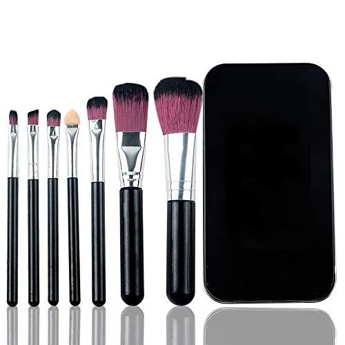 Pinceaux de maquillage pinceau de maquillage Ombre à paupières avec fond de boîte de fer portatif poudre correcteur de sourcils - 7pcs rose Brosse à maquillage XXYHYQ