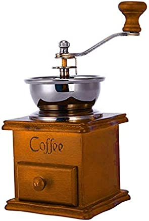 Cumturming Coffee Grinder Coffee Maker Bean Grinder Antique Appearance Wooden Base