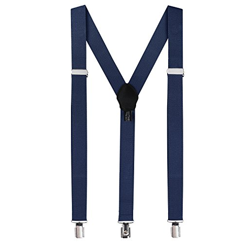 Suspenders for Men: Button Mens Adult Pant Braces with Elastic, Y Back Design - Navy Blue