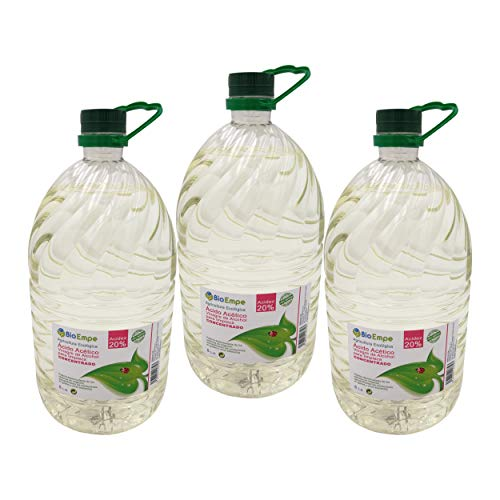 Herbicida Ecológico a Base de Vinagre Concentrado de Alcohol de Cereal al 20{84755641118f5d226797228a0d9c95f2cf384a5e060d70b20b3e240ab5597426}. Caja de 3 garrafas de 5L