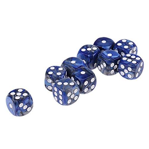 Fenteer 10er-Set 16mm Multicolor Acryl D6 Sechsseitig Würfel - blau Silber