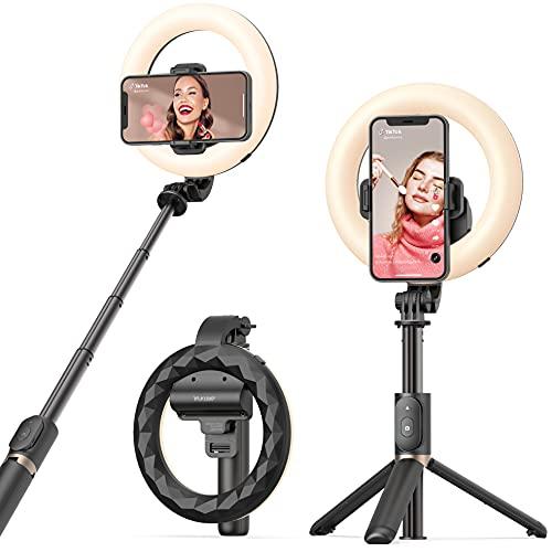Selfie Ring Light ARTOFUL Bastone Selfie Luce ad Anello con Estensibile Treppiede con Telecomando Wireless e 3 Modalità Colore, 9 Luminosità Regolabile per Tiktok, Trucco, YouTube e Vlog