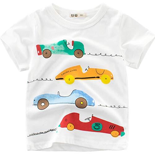 Oyoden Camisetas Manga Corta Niño Dibujos Animados Tops Bebé Verano Algodón Blusa 1-7 Años(4-5 años, Blanco)