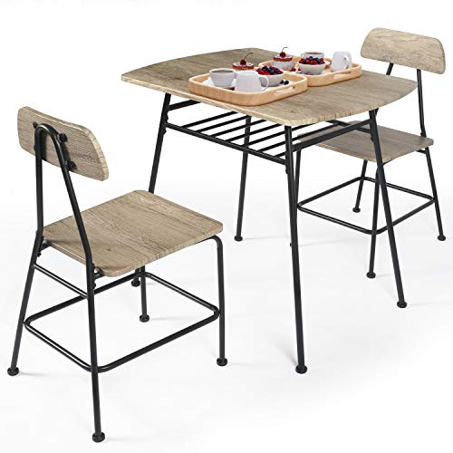 LAZZO 3 Piece Dining Table Set, Wooden Kitchen Table Set with Wine Rack and Metal Frame, Small Dining Room Table and 2 Chairs Set for Breakfast Nook,Home,Kitchen Studio (1x 32inch Table + 2X Chairs)