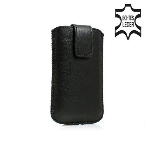 System-S Leder Tasche Etui Sleeve Hülle Hülle mit Rückzugfunktion Ausziehhilfe in Schwarz für Motorola RAZR V3 RAZR2 V8