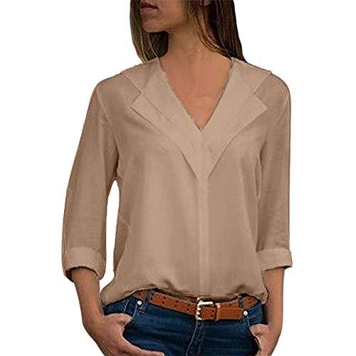 SHOBDW Camisa de Cuello en v Gasa sólida de Las Mujeres Camisa de Trabajo de Las señoras de la Oficina Blusa Tops de Manga Larga de otoño Invierno(Caqui,XL)