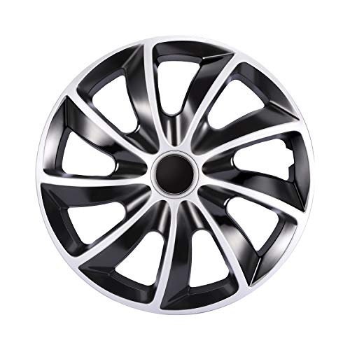 GSSUSA Black and Silver Hub Caps 15 Inch Hubcaps Wheel Covers Car Accessories Plastic Hubcaps Snap on Atuo Tire Rim Replacement Exterior Cap 4 Pack