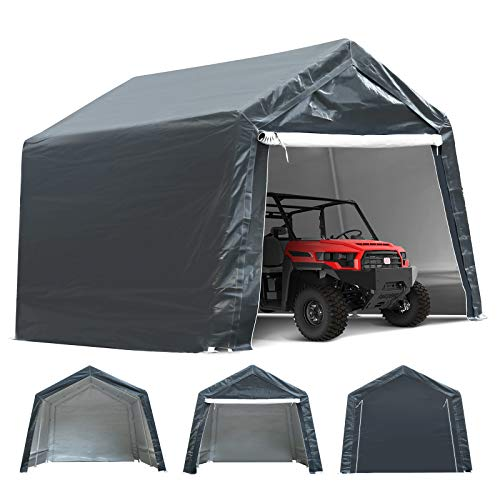 TOOCA 10x10x8.7 Ft Portable Garage Tent Kit Portable Shed Outdoor Carport Canopy Storage Shelter Shed with Detachable Roll-up Zipper Door for Motorcycle Gardening Vehicle ATV and Car Storage, Gray
