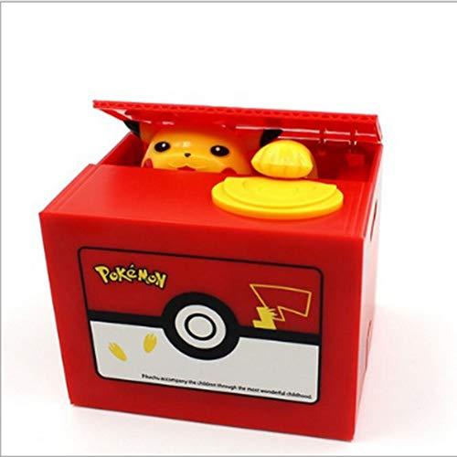 Dong Ran Elektronische Spardose und Elektro Gelddose Sparschwein in der Kiste verwenden Pfötchen für Sammelt Geldmünzen, Batteriebetrieben (Pikachu)