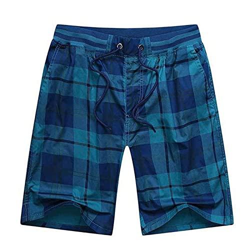 Shorts Kurze Herren Hose Männliche Elastische Taille Herren Plaid Shorts Klassisches Design Reithose Baumwolle Casual Beach Short Pants 178Cm80Kgsize3Xl Blue2