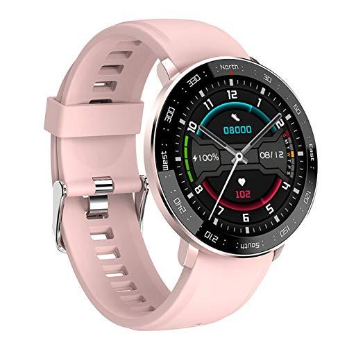 Smartwatch, Damen Fitness Armbanduhr,IP67 Wasserdicht 1.28 Zoll Touch-Farbdisplay Pulsuhr Herren Sportuhr Smart Watch mit Schrittzähler,Schlafmonitor,Silber,Rosa