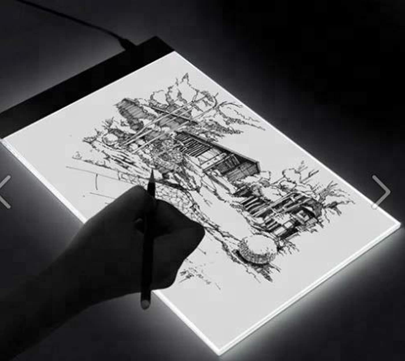 Portable A4 Size LED Copy Board Light Box, USB Power Supply Ultra-Thin Adjustable, LED Tracking Light, Used for Imitation, Tattoo Drawing, Streaming Media, Sketching, Animation, Wording(Scale)