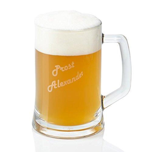 Leonardo Bierseidel mit Gravur 0,5 l – personalisiertes Bier Geschenk für Männer zum Geburtstag, Weihnachten oder zum Vatertag – Bierkrug aus Glas mit Personalisierung