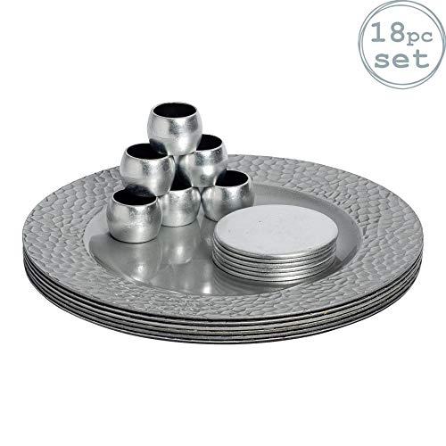 Argon Tableware Juego de bajoplatos con Textura, Posavasos y servilleteros - Forma Circular - Plateado - Pack de 18...