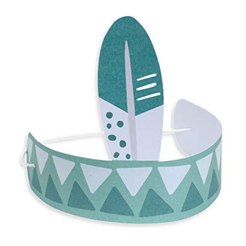 JulicaDesign Indianer Kopfschmuck für Kinder | 5er Pack | Papier | Indianer Stirnband mit Feder | Zum Basteln für Kindergeburtstag, Karneval und Co. | Jungen (Blau)