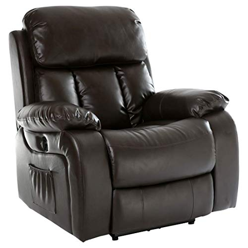 More4Homes (tm) CHESTER ELECTRIC HEATED MASSAGE RECLINER BONDED LEATHER CHAIR SOFA GAMING HOME ARMCHAIR (Brown)