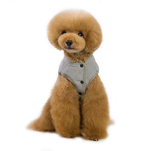 Etophigh Pet herfst winter ruitenrooster kasjmier dik vest voor kleine en middelgrote honden, Doggy Warm twee voet jackets Puppy Jacket, S-XXL, Medium, grijs