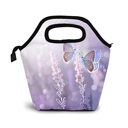 Lilac Flowers in The Sun Lunch Bag Insulated Cooler Lunch Box,Butterflies are Flying Reusable Tote Outdoor Travel Picnic Bags for Snacks Organizer for Women Men Office Work