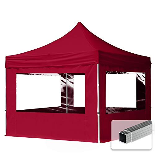 TOOLPORT Faltpavillon Faltzelt Pavillon 3x3m - 4 Seitenteile Aluminium 32mm Partyzelt PES300 100% wasserdicht Bordeaux