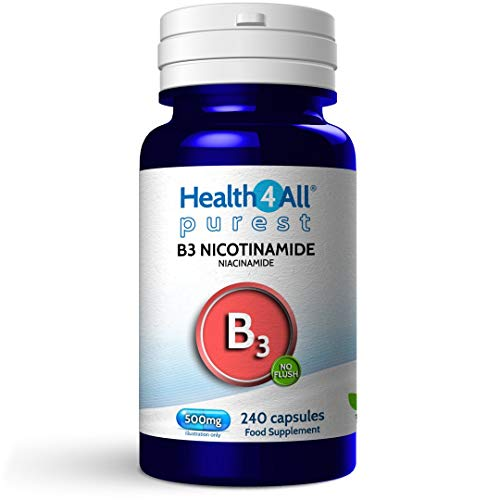 Vitamin B3 Nicotinamide (Niacinamide) 500mg 240 Capsules (V) Purest- no additives. Vegan. No-Flush Niacinamide. Made by Health4All