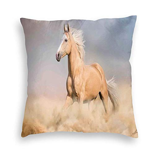 Decorative Pillow Covers Pillowcases Square Cushion Cover Cotton Linen,Palomino Horse In Sand Desert With Long Blond Male Hair And Tail Power Wild,Throw Pillow Coversfor Sofa Bedroom 18x18 Inch