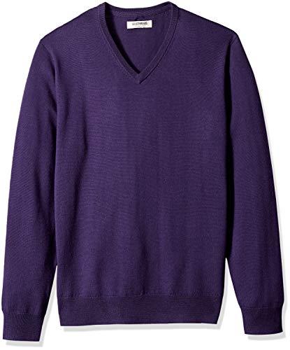 Amazon Brand - Goodthreads Men's Lightweight Merino Wool V-Neck Sweater, deep Purple, X-Large