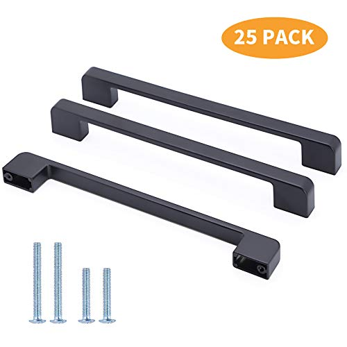 25 Pack YUFER Black Square Bar Cabinet Pulls Drawer Pull Cabinet Handle Zinc Alloy Modern Hardware for Kitchen and Bathroom Cabinets,7-1/2inch(192mm) Hole Center Kitchen Cabinet Pull 192 Mm Pull Matte