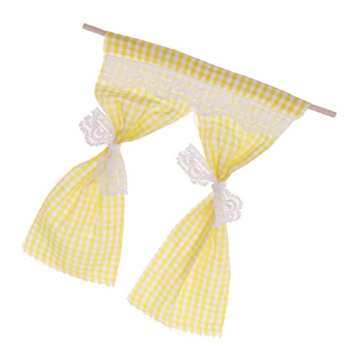 1/12 Puppenhaus Zubehör - Miniatur Vorhänge Gardine Vorhang ( 1 Stück ) - Gelb