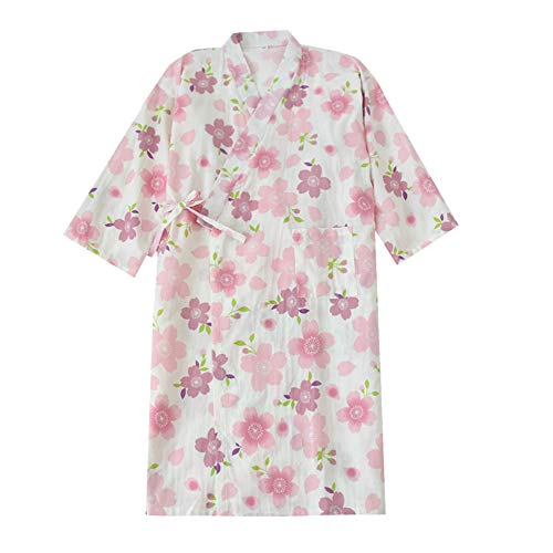 FEOYA Kimono Estampado Albornoz Algodón Mujer Verano Bata de Baño Yukata Japonés para Sauna Ropa de Dormir Vestido de Noche Color Blanco Violeta Sakura Talla L