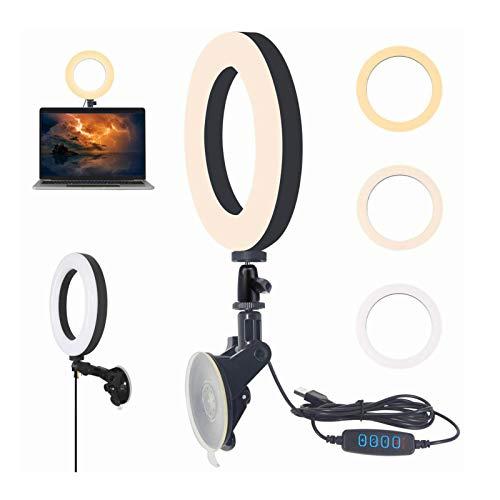 6'' LED Ringlicht mit Saugnapf, Macllar USB Selfie Ring licht für Zoom-Anruf, YouTube, Streaming, Selfie, Videoanruf, Webcam-Ringlicht für Computer, Laptop, Schreibtisch, Wand