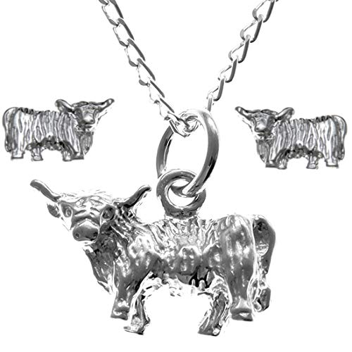 Sterling Silver Highland Cow Pendant & Earring Gift Set - Animal Lover Gift