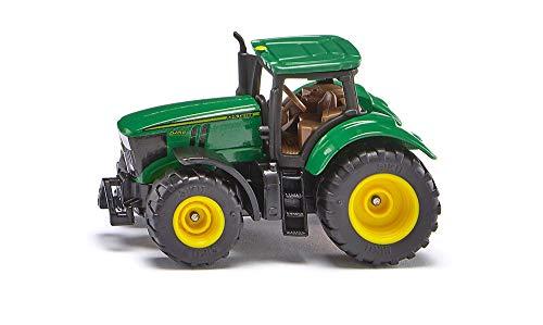 SIKU 1064, John Deere 6250R Traktor, Metall/Kunststoff, Grün, Inkl. Anhängerkupplung, Räder mit gummierte Reifen
