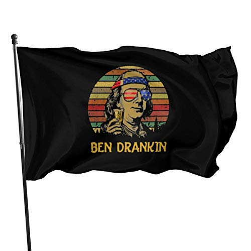 Kxxhvk Ben Drankin 3x5 Foot American USA Polyester Flag - Colores Vivos y Brillantes