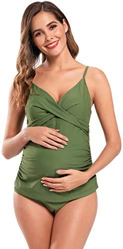 SHEKINI Damen Schwangerschafts Tankini Set Retro Crossover Wrap Raffung Zweiteiliger Bikini V Ausschnitt Bügellos 3XL (M, Olivgrün)