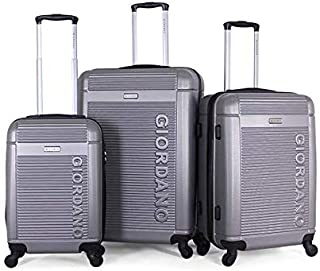 Giordano Luggage Trolley Bags Set, 3 Pcs With 4 Wheel, Silver - 827482, Unisex