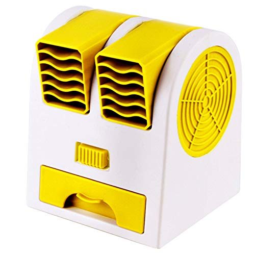 L&B-MR Aire Acondicionado Portátil, con Tanque de Agua y ventilaciones Dobles, Enfriador de Aire/humidificador/purificador 3 en 1, Silencio, para Oficina, Hogar,Amarillo