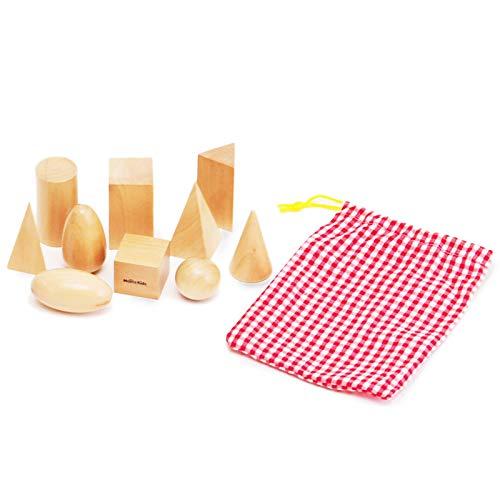 【MONTE Kids】モンテッソーリ教具 -- 秘密袋 ミステリー袋 幾何学立体 -- Montessori 知育玩具教具 幼児早...