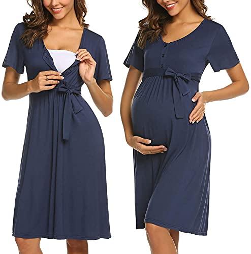 Camisón de mujer de Adome, de manga corta, para embarazadas y lactantes A-azul oscuro. XXL
