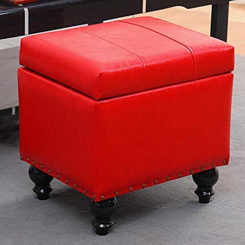 JXJ Cubo de piel sintética de almacenamiento otomano taburete de pie puf banco, caja de juguetes con bisagra superior organizador caja puf pecho rojo 40 x 34 x 40 cm