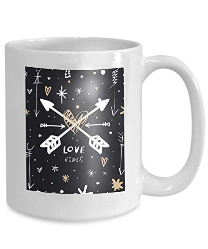 N\A Divertido de la Taza de café Dark Chalk Love Boho Arrows Chalk estilizado Hippie Boho Love Logo Ropa Imprimir Etiqueta Otro