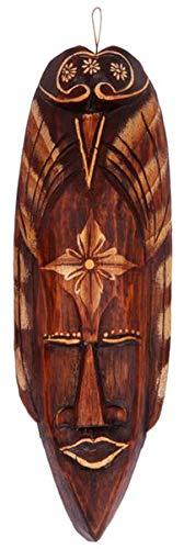 Kunsthandwerk Asien Maske bemalt 30 cm, Holz-Maske aus Bali, Wandmaske
