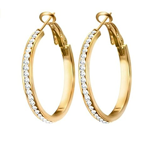 Halo's London  9ct Gold Filled Topaz 30mm hoop earrings