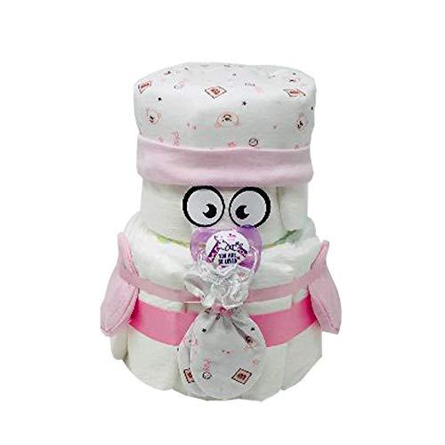 Kleines Windelbaby Bärchen PIMFI 23tlg. in rosa für Mädchen Geschenk zur Geburt Babyparty Taufe (Rosa) Geschenkfertig in Folie verpackt. Auf Wunsch mit kostenlosen Grußkärtchen.