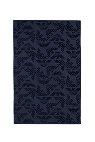 Emporio Armani Swimwear Herren Towel Beachwear Allover Eagle Sponge Bademantel, Blau (Blu Navy 06935), Medium (Herstellergröße: TU)