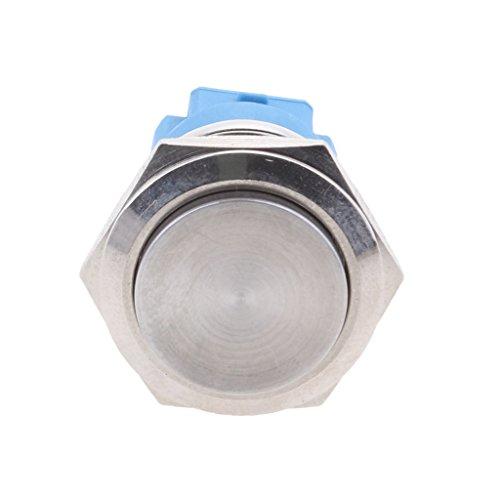 balikha Interruptor de Botón de Bricolaje de Coche de Metal LED Azul de Aleación de Zinc Momentáneo Antivandálico