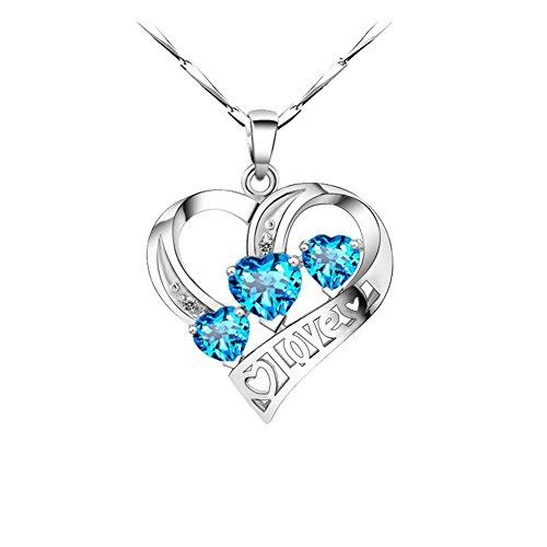 AIUIN vrouwen halsketting hanger vorm blauwe strass hart gevormd voor vrouwen paar geschenk Valentijnsdag Moederdag kerstverjaardagscadeau, met sieradenzakje