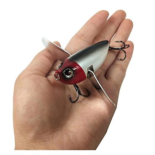 KKAAMYND 58mm 12.5g Topwater Popper Flotante Hard Wobblers Pesca Señuelos Metal con alas de la Cuchilla para el Gato Topmouth Culter Bass en el océano (Color : CC26 04)